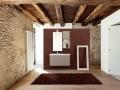 beautiful modern loft, empty room with stone walls